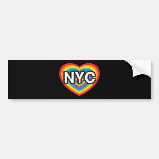 Mim coração NYC. Eu amo NYC. Hea do arco-íris da N Adesivo Para Carro