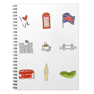 Mim coração Reino Unido, amor britânico, marcos Caderno