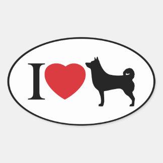 Mim coração Shiba Inu - etiqueta oval Adesivo Oval