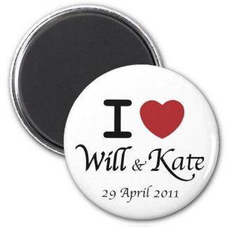Mim coração William e ímã real do casamento de Kat Ímã Redondo 5.08cm