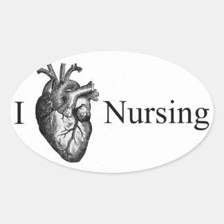 Mim cuidados do coração adesivo oval