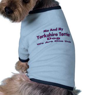 Mim e meu cão do yorkshire terrier camisa ringer para cachorro