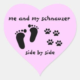 Mim e meu Schnauzer Adesivo Coração