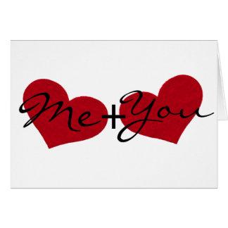 Mim e você cartão do coração do dia dos namorados