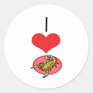 Mim escorpião do coração (amor) adesivos em formato redondos