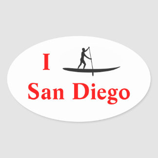 Mim etiqueta de pé de San Diego do conselho de pá Adesivo Oval