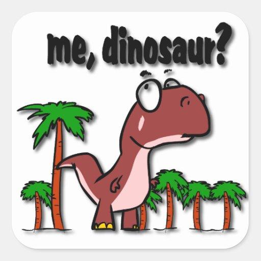 Mim etiqueta do dinossauro adesivo em forma quadrada
