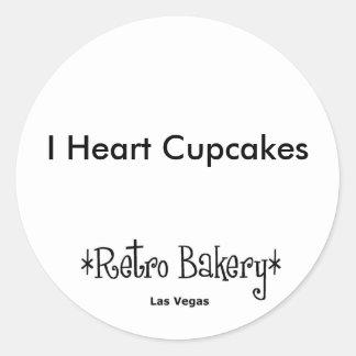 Mim etiqueta dos cupcakes do coração adesivo