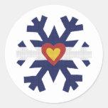 Mim floco de neve da bandeira de Colorado do Adesivo Em Formato Redondo