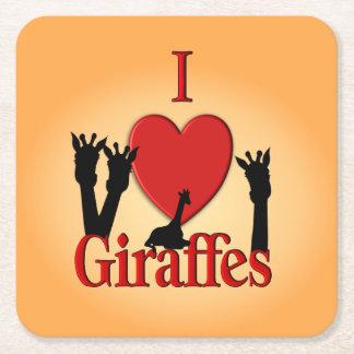 Mim girafas do coração porta-copo de papel quadrado