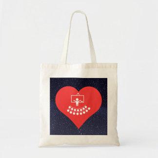 Mim ícone dos salões de leitura do coração sacola tote budget