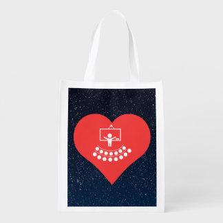 Mim ícone dos salões de leitura do coração sacolas ecológicas