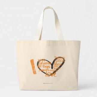 Mim laranja dos grafites do coração sacola tote jumbo