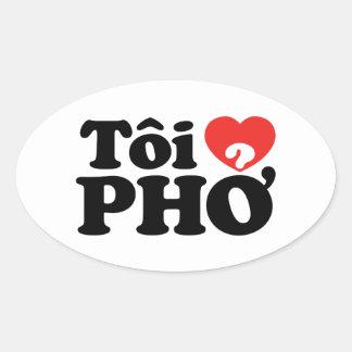 Mim língua vietnamiana de Pho do coração (amor) (❤ Adesivo Oval