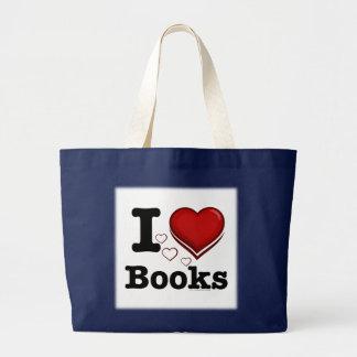 Mim livros do coração! Eu amo livros! (Coração Bolsa Tote Grande