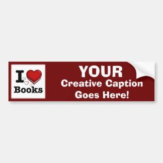 Mim livros do coração! Eu amo livros! (Coração som Adesivo