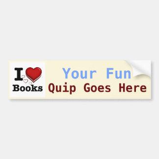 Mim livros do coração! Eu amo livros! (Coração som Adesivos