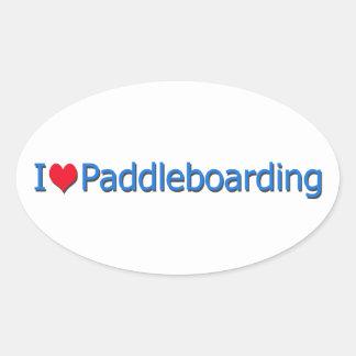 """""""Mim logotipo de Paddleboarding do coração"""" Adesivo Oval"""