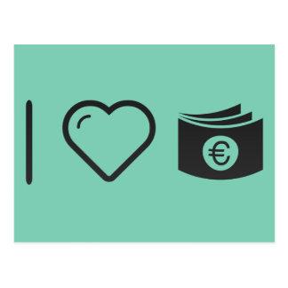 Mim papéis do euro do coração cartão postal