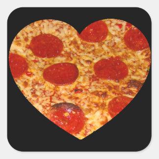 Mim pizza do coração adesivo quadrado