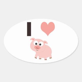 Mim porcos do coração adesivo oval