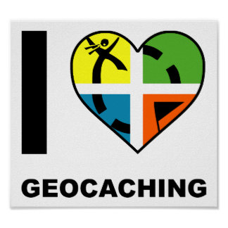 Mim poster engraçado de Geocaching do coração