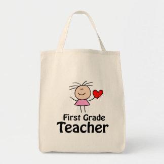 Mim professor de primeiro grau do coração sacola tote de mercado