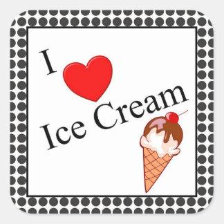 Mim sorvete do coração adesivo quadrado
