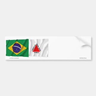 Minas Gerais & bandeiras de ondulação de Brasil Adesivo Para Carro