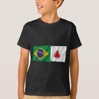 Minas Gerais & bandeiras de ondulação de Brasil Camiseta