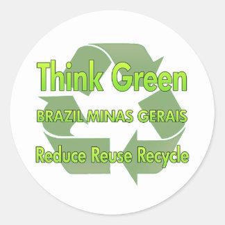Minas Gerais de Brasil do pense verde Adesivos Redondos