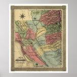 Mineração no mapa de Califórnia - 1851 Poster