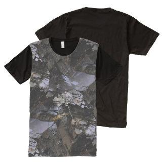 Mineral áspero do preto do homem camisetas com impressão frontal completa