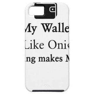 Minha carteira é como uma cebola, abrindo faz-me capas para iPhone 5