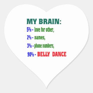 Minha dança do ventre do cérebro 90% adesivo coração