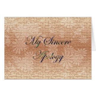 Minha desculpa sincera cartão de nota
