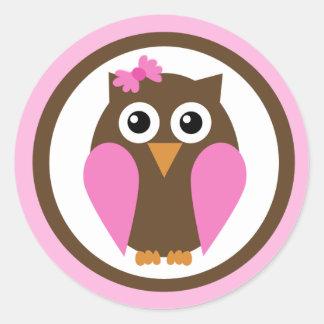 Minha etiqueta cor-de-rosa do arco da coruja adesivo em formato redondo