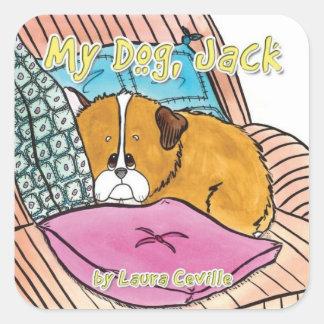 Minha etiqueta de Jack do cão por Laura Ceville Adesivo Quadrado