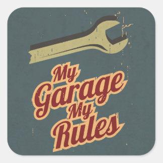 Minha garagem minhas regras adesivo quadrado