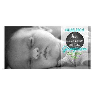Minha história começa o anúncio do nascimento do cartão com foto