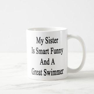 Minha irmã é engraçada esperto e um grande nadador canecas