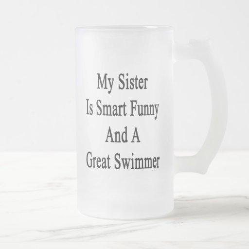Minha irmã é engraçada esperto e um grande nadador caneca