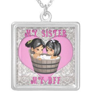 Minha irmã meu coração de BFF na colar de diamante