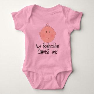 Minha madrinha ama-me camiseta feliz do bebé