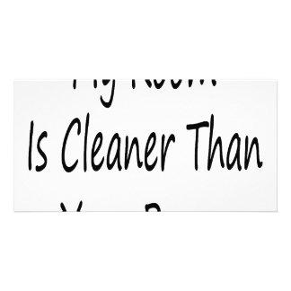 Minha sala está mais limpa do que sua sala cartao com fotos