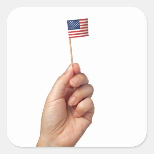 Aparador Tagalog ~ Mini bandeira dos Estados Unidos da América Adesivo Quadrado Zazzle