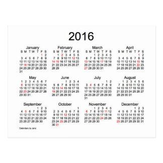 Mini calendário 2016 com feriados cartão postal