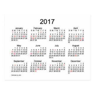 Mini calendário 2017 por Janz com feriados Cartão Postal