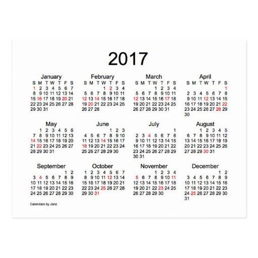 Mini calendário 2017 por Janz com feriados Cartão Postal   Zazzle