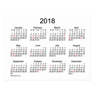Mini calendário 2018 por Janz com feriados Cartão Postal